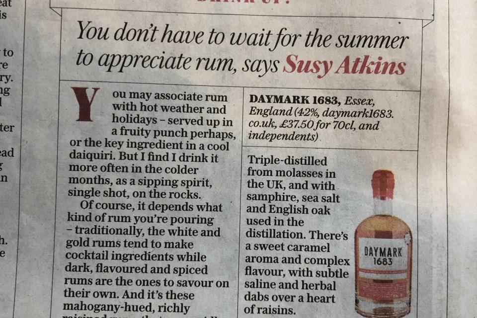 Telegraph Article on Daymark Rum